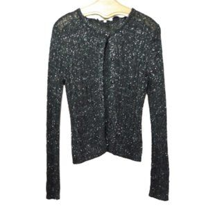 Carol Rose Black & Silver Cable Knit Sweater XL
